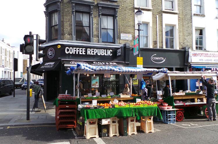 """Notting Hill"" Drehort, Portobello Market, Ecke Westbourne Park Road, London © Andrea David"