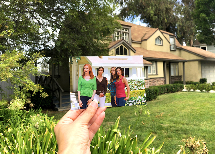 "Szene aus ""Desperate Housewives"" in der Colonial Street, Universal Studios, Los Angeles"