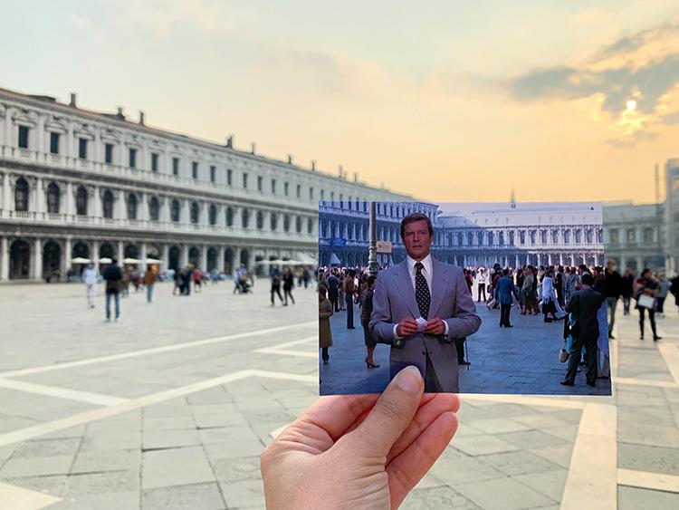 "Szene aus ""Moonraker"" auf dem Markusplatz, Venedig"