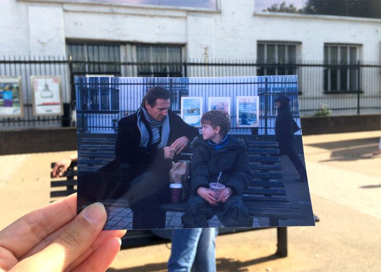 """Filmszene aus """"Tatsächlich... Liebe"""" am Gabriel´s Wharf, London © Andrea David"""