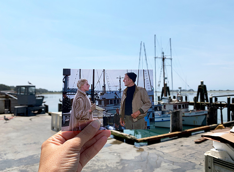 """Szene aus """"Die Vögel"""" am Hafen, Bodega Bay"""