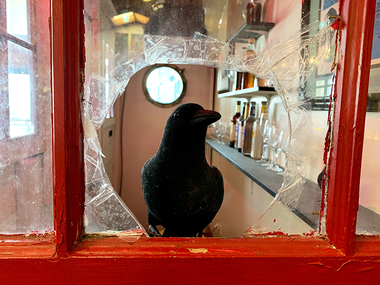 "Erinnerung an ""Die Vögel"" im Tides Wharf, Bodega Bay"