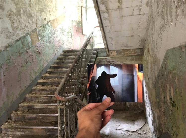 """Filmszene aus """"Der Pianist"""", Verwaltungsgebäude des Männersanatoriums, Beelitz-Heilstätten"""