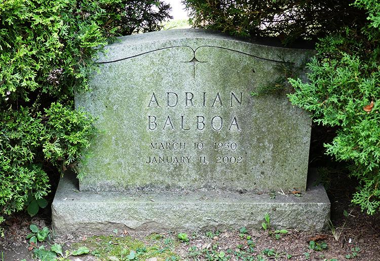 Adrians Grabstein auf dem Laurel Hill Cemetery