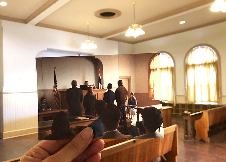 """Brokeback Mountain""-Szene in der Town Hall, Fort Macleod, Alberta"