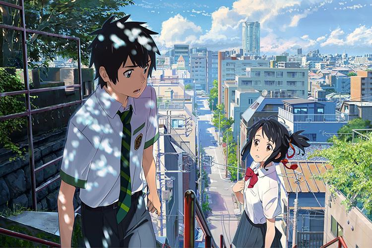 """Filmszene aus """"Your Name"""" in Tokio"""