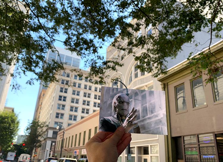 """Infinity War""-Drehort in der Walton Street, Downtown Atlanta, Georgia"