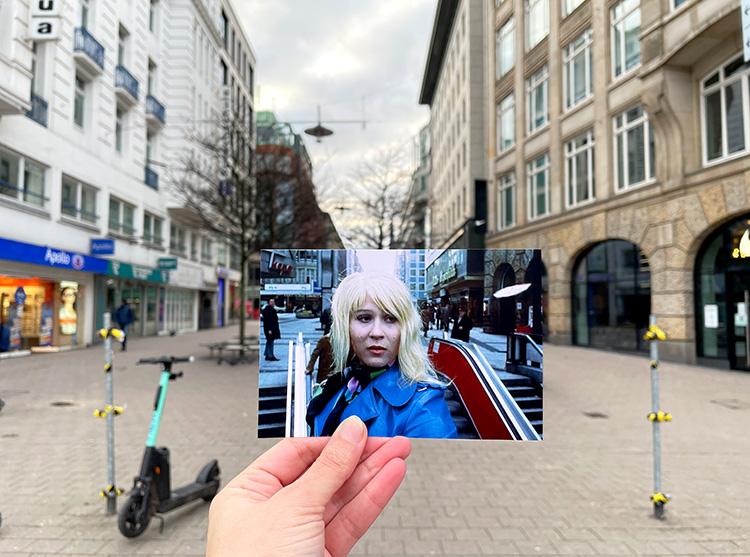 "Filmszene aus ""Supermarkt"" in der Spitaler Straße, Hamburg"